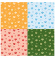 set of seamless patterns with color gifts vector image