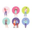 singing characters adult people in karaoke club vector image vector image