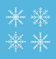 snowflakes icon set four white snowflake merry vector image