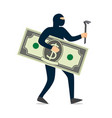 thief in a black mask stole money vector image