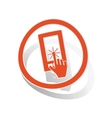 Touchscreen sign sticker orange vector image vector image