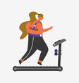 treadmill for fitness girl plus size health vector image vector image