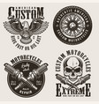 vintage custom motorcycle badges set vector image vector image