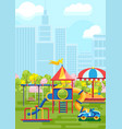 vivid amusement playground in city vector image
