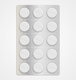 White realistic medical pills in blister pack vector image