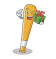 with gift baseball bat character cartoon vector image