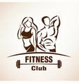 fitness symbol outlined sketch emblem or label vector image
