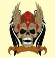 skull in an ancient helmet of Vikings vector image