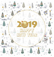 2019 happy new year card for your design with vector image vector image