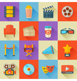 A detailed set of flat style cinema icons for web vector image vector image