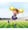 A soccer field with a cheerdancer vector image vector image