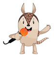 armadillo singing on microphone on white vector image vector image