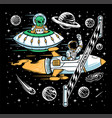 astronauts and aliens doing races in space vector image