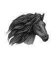 Black raven stallion running against wind vector image