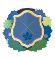 Blue shield with a wreath of oak leaves vector image