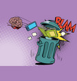brain electronics and a book thrown in the trash vector image vector image