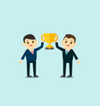 business men wear suite show up trophy cup vector image vector image
