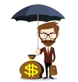 Businessman with umbrella stands and protects a vector image