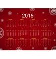 Calendar 2015 snowflake vector image