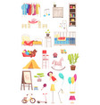children room interior elements set vector image vector image
