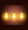 classic light bulbs on rustic brick wall vector image