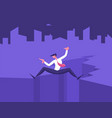 confused frightened businessman stand on rock vector image vector image