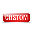 custom red square 3d realistic isolated web button vector image vector image