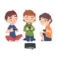 cute boys sitting on floor playing video game vector image vector image