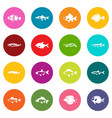 cute fish icons many colors set vector image