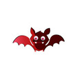 cute funny red cartoon bat on white background vector image