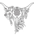 Decorative Indian bull skull with ethnic vector image vector image