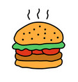 delicious burger color icon traditional hamburger vector image
