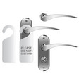 door handle with hotel hanger isolated on white vector image vector image