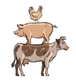 farm animals cow pig and chicken vector image vector image