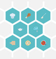 flat icons soup spoon broth pepperoni and other vector image vector image