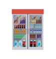 fridge with bottles of water vector image vector image