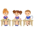 Funny pupils sit on desks read draw clay cartoon vector image vector image