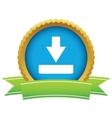 Gold download logo vector image