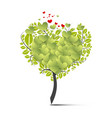 green tree symbol with flying hearts vector image vector image