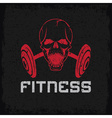 grunge aggressive skull and barbell fitness emblem vector image vector image