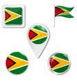 guyana flag round icon vector image vector image