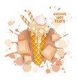 ice cream white chocolate cone colorful dessert vector image