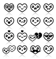 Kawaii hearts Valentines Day cute icons vector image vector image