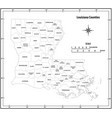 louisiana state outline map in black and white vector image