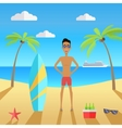 man on beach with sand and palm vector image vector image
