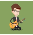 Man playing acoustic guitar vector image vector image