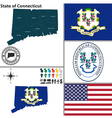 map connecticut with seal vector image