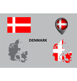 Map of Denmark and symbol vector image