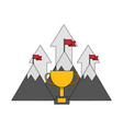 mountains flags arrows trophy success business vector image vector image