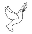 peace pigeon icon outline style vector image